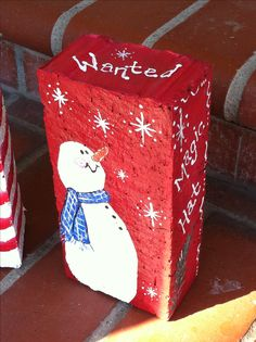 Painted brick Painted Bricks Crafts, Brick Crafts, Painted Pavers, Stone Crafts, Cement Pavers, Brick Projects, Brick Pavers, Painted Rocks, Christmas Wood
