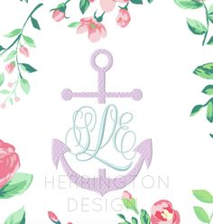 Split Anchor Embroidery Design Machine by HerringtonDesign on Etsy