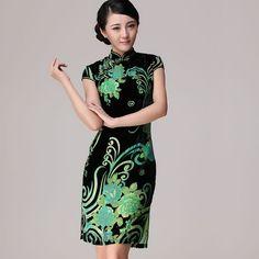 Green and black floral short qipao silk velvet cheongsam dress 848b2f2bd4