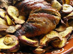 Perna de perú no forno com batata-doce frita by a galinha maria, via Flickr