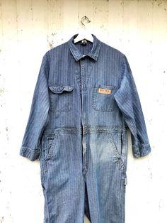 de0ef25e506a Denim Mechanic Coveralls Big Mac Jumpsuit Workwear Herringbone Sz M