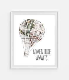 Carte du vieux monde style Hot Air Balloon « Aventure attend » Art Print.  ▶ ▶ FRAME nest pas inclus 5 x 7-8 x 10 - 11 x 14 ▶ imprimé sur Photo Paper