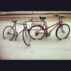 Bicycles and snow