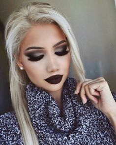 32 Most Awesome Fall Makeup Looks Dark Makeup, Glam Makeup, Skin Makeup, Beauty Makeup, Dark Lipstick Makeup, Liquid Lipstick, Gorgeous Makeup, Pretty Makeup, Love Makeup