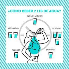 ¡Que no te cueste trabajo! Distribuye esos dos litros de agua en 8 vasos y tómalos a diferentes horas del día, ¡checa aquí cómo, es fácil y saludable! Healthy Facts, Healthy Tips, Herbalife Nutrition, At Home Gym, Healthy Drinks, Body Care, Feel Good, Health Fitness, Workout