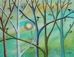 Colored Trees 11x14 ORIGINAL CANVAS PAINTING birds FOLK ART PRIM Karla Gerard #FolkArtAbstractPrimitive
