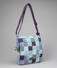 Donna Sharp Purple Blue Rio Patch Messenger Bag