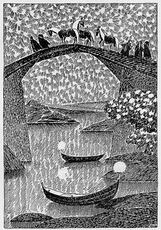 "Tove Jansson illustrations of The Hobbit ""Tove illustrated both the Swedish and Finnish editions of Tolkien's classic book The Hobbit. The first edition of the Swedish Bilbo – en hobbits äventyr was. Gandalf, Legolas, Tolkien, Tove Jansson, Les Moomins, Les Runes, Children's Book Illustration, Middle Earth, The Hobbit"