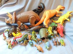 Classic Plastic Toy Dinosaurs   40+ Toys with Stegosaurus Bag   Vintage Toys Collectible Figures