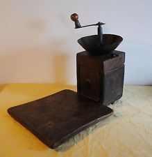 ANTIQUE OTTOMAN TURKISH WROUGHT IRON WOODEN COFFEE GRINDER MILL