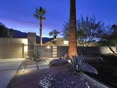 mid-century modern Palm Springs style front entry