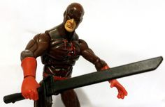 DAREDEVIL w/CUSTOM SWORD • DARK RED VARIANT • C8-9 • MARVEL UNIVERSE HASBRO #MarvelToys