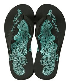 Ooh!  So pretty!  Too bad the best part of the shoe would be completely covered when worn.  So cute to have it peeking out when the shoes are loose or off, but not enough to buy.  Really pretty design though, and I love the colors!    Take a look at this Black Preppy Peacock Flip-Flop by Sunnybelle on #zulily today!
