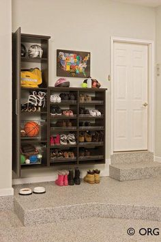 47 Awesome Shoe Rack Ideas in 2020 (Concepts for Storing Your Shoes) Garage Shoe Shelf Ideas Garage Shoe Shelves, Garage Shoe Storage, Shoe Shelves, Garage Shoe Rack, Cabinet Storage Solutions, Garage Storage Cabinets, Home Office Organization, Storage, Corner Storage