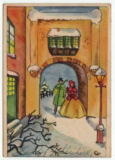 Postcards - Greetings & Congrads #  587 - Happy New Year - Winter Scene