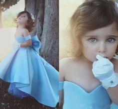 Off The Shoulder Blue Girl Pageant Dress Pagent Dresses For Girls, Little Girl Pageant Dresses, Wedding Flower Girl Dresses, Cheap Gowns, Birthday Fashion, Party Gowns, Special Occasion Dresses, Grande, Shirt Refashion