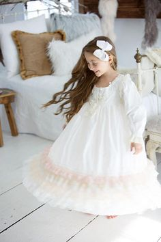 We are delighted with our Luxurious new line of Winter white vintage lace and eyelet trimmed nightgowns, robes and bed jackets for little girls.It is our Vintage White Rose Collection. This listing is for our beautiful shabby chic long sleeved nightgown Stunning for Christmas photo shoots