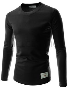 abb75ca9469 (TRL01-BLACK) Unisex Slim Fit Tee Casual Round Neck Long Sleeve Solid Cotton