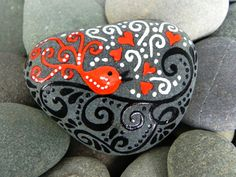 Happy, Little Lovebird Singing Her Sweet Melody....on a smooth and calming sea stone from Cape Cod