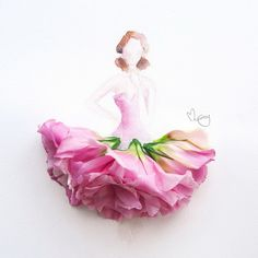 Pictures With Pretty Flower Dresses Perfect For Spring 3 - M Magazine Floral Fashion, Fashion Art, Flower Petals, Flower Art, Art Flowers, Pink Flowers, Arte Floral, Flower Dresses, Lovely Dresses