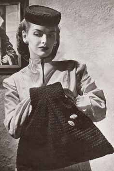 Vintage 40s Pillbox Hat & Muff Bag Purse Crochet Pattern