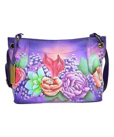 Love this Lush Lilac Hand-Painted Leather Crossbody Bag on #zulily! #zulilyfinds