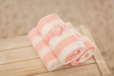 Pink and White Striped Stretchy Wrap and Delicate by clickknits