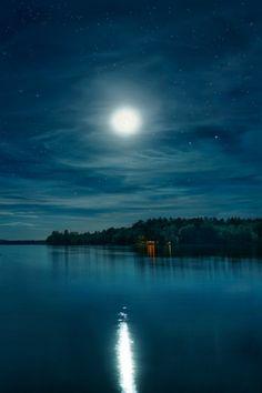 Moonlit Night on Annabessacook by Paul Whitworth