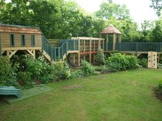 Dreaming: A raised playhouse, platform, tunnel, rope bridge, covered shelter… Childrens Play Area Garden, Kids Outdoor Play, Outdoor Play Areas, Kids Backyard Playground, Backyard For Kids, Children Playground, Playground Design, Backyard Ideas, Garden Playhouse