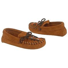 Minnetonka Moccasin Beaded Moccasin Tod/Pre Shoes (Brown Suede) - Kids' Shoes - 11.0 M