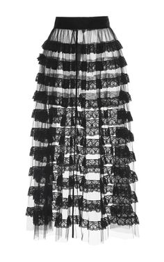 Stretch Tulle And Lace Midi Skirt by VILSHENKO for Preorder on Moda Operandi