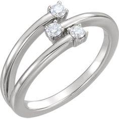 14kt White 1/5 CTW Diamond Freeform Ring