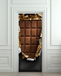 Fun Door Wall sticker  Chocolate bar brick decole poster 30x79""