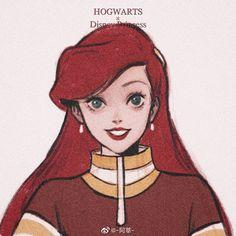Ariel_ Gry - Harry Potter World - Disney Princess Art, Disney Fan Art, Disney Love, Disney Magic, Disney And Dreamworks, Disney Pixar, Disney Characters, Walt Disney, Punk Disney