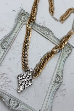 Vintage Rhinestone and Pearl Necklace~