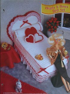 Hearts and Bows Bed Set Crochet Pattern for Headboard, Bed, Mattress, Coverlet, Bolster, and Heart Pillows. $4.00, via Etsy.