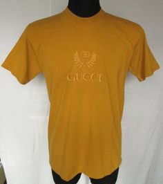 Vintage Gucci Mens Yellow Gold Color T-shirt Big Logo On Chest Sz M Cotton Used #Gucci #Tshirt