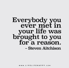Quote Poster: Everybody you ever met in your life was brought to you for a reason.