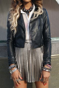 oh this biker look metallic skirt with black leather jacket is so me