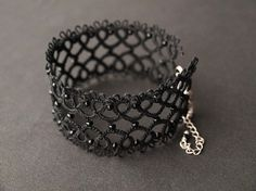 tatted lace bracelet - from Koroneczka on Etsy $36  #jewelry #gothic #black #handmade