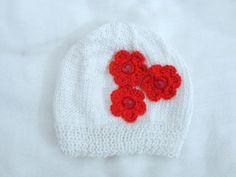 Gorro 3 Flores. Feito com linha 100% algodão.