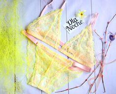 Lingerie set, Lingerie lace seductive, Yellow lingerie underwear, Bralette outfit, Bralette lace, Bralette diy, Padded Lace Bra, Lingerie bras, Lacy bras, Lace bra, Long line bra, Floral lingerie, Underwire Bra