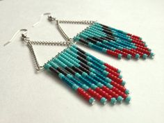 Red Teal and Turquoise Beaded Earrings by OliveTreeHandmade, $23.00  Love these!  www.deltamoonsoap.etsy.com