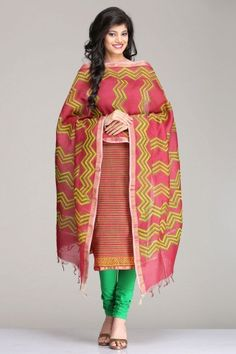 Gorgeous Multicolored Chanderi Unstitched Kurta & Dupatta Set With Striped Hand Block Print & A Gold Zari Border