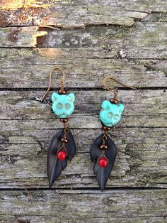 Recycled Bike Tube Cat Feather Dangles by BicyclingBuddha on Etsy, $22.00