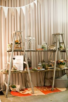 Two ladders form a display area. From One Fine Day Wedding Fair at Sun Studios in Sydney, Australia