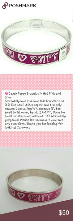 "Coach Hot Pink and Silver Poppy Bracelet Sz 2-1/2"" Hi! Thank you so much for stopping by my closet! I hope you'll find something you love! See picture #2 for all the details and please let me know if you have any questions! Much love,  Christine Coach Jewelry Bracelets"