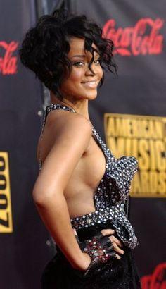 Rihanna, sporting a cropped bob. #hair
