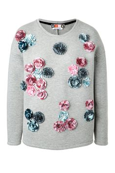 MSGM Flower Embellished Scuba Sweatshirt