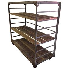 Reclaimed Wood and Steel Industrial Shelving Cart | From a unique collection of antique and modern shelves at http://www.1stdibs.com/furniture/storage-case-pieces/shelves/
